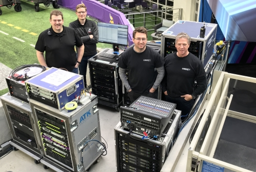 (L-R) Gary Trenda (lead RF tech), Cameron Stuckey (RF tech), Justin Van Winkle (production manager), and Jim Van Winkle (general manager) on hand at the recent Super Bowl in Minneapolis to handle the wireless aspects of on-field audio.